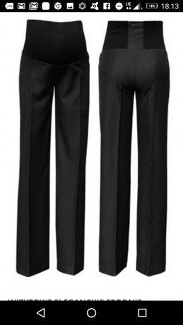 Ciążowe spodnie wizytowe, czarne, eleganckie, rozmiar duże M, L
