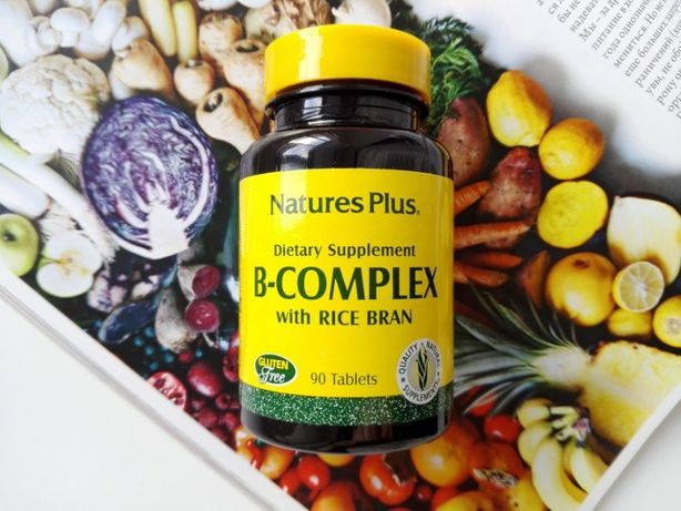 Natures Plus Комплекс витаминов группы B с рисовыми отрубями, 90 шт.