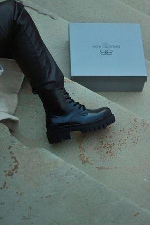 Женские ботинки Balenciaga Tractor баленсиага трактор черные кожа