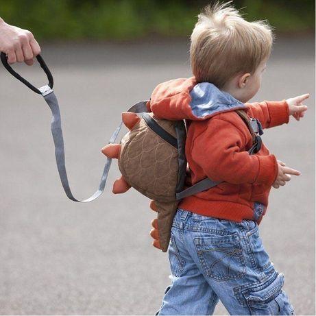 Рюкзак с поводком динозаврик