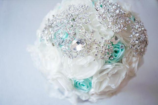 WYPRZEDAŻ! Piękny bukiet ślubny z broszek wstążek ecru ślub