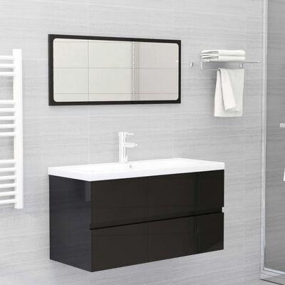 Armário lavatório + lavatório embutido contrap. preto brilhante