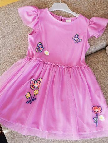 fioletowa sukienka c&a rozm 104