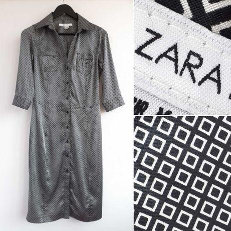 Сатиновое платье ZARA атласное платье миди Zara платье на пуговицах