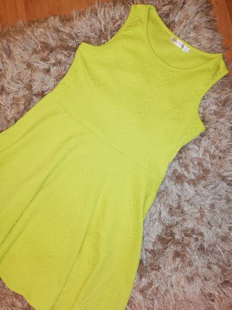 Sukienka limonkowa cytryna 38