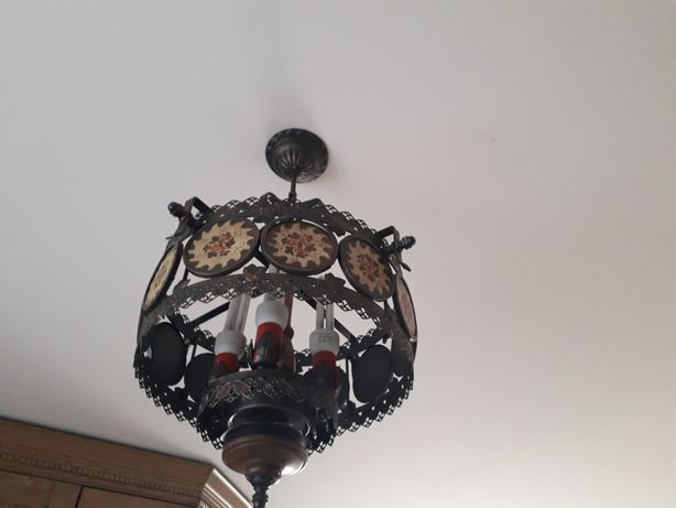 Lampa, żyrandol metal,miedź