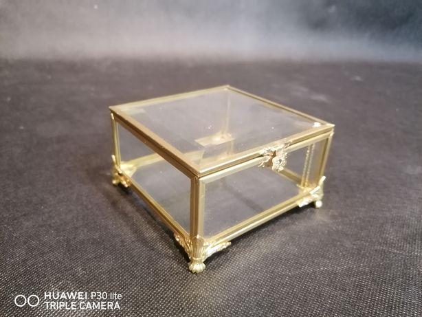 Pudełko szklane złote szkatułka organizer mosiężne na obrączki ślubne