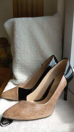 Buty skórzane, ponadczasowe szpilki/czółenka, nr38, POLSKI PRODUCENT!