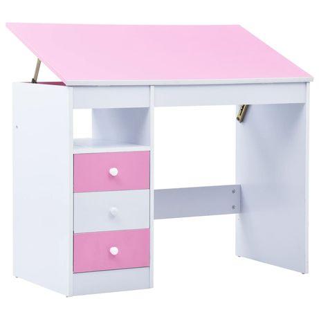 vidaXL Secretária/estirador desenho para crianças rosa e branco 287447