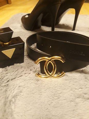 Pasek czarny pas złota klamra do spodni