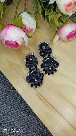 Czarne eleganckie kolczyki sutasz na wesele ślub prezent