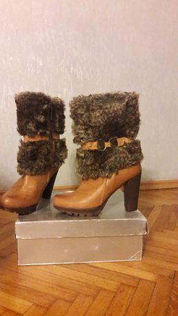 Kozaki SKÓRA zimowe buty Ambra NOWE r. 40
