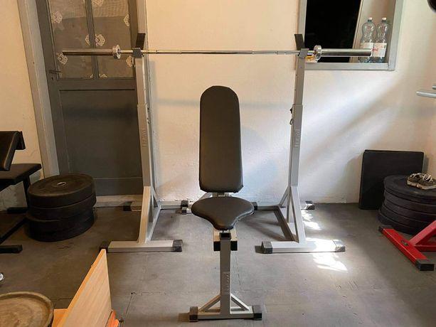 Zestaw na domowa siłownia, ławka, stojaki, gryf olimpijski