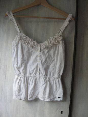 bluzka HOLLISTER śnieżno biała 100% bawełna S CUDO