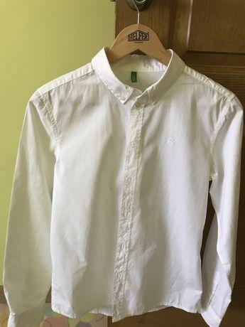 Белая рубашка benetton на мальчика 11-12 лет