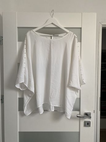 Biała bluzka z perełkami rozmiar 48 nowa