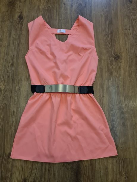 Sukienka neon łosoś