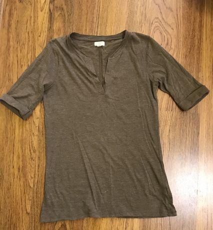 Женская блузка - футболка с вырезом, кофейного цвета. Рубашка летняя.