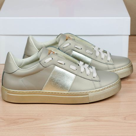 Кожаные кроссовки Stokton 650-D Platino Италия 37-38р. 24,5 см