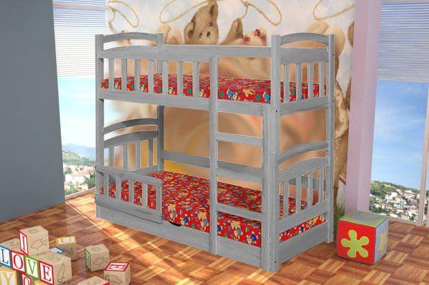 Drewniane łóżko Michał dwuosobowe z pojemnikiem, materace gratis