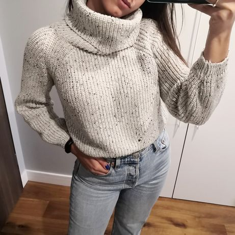 Sweter z golfem szary krótszy ciepły 36 S oversize
