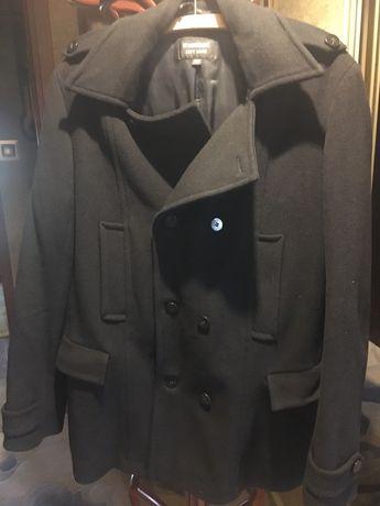 Wełniany płaszcz męski, kurtka. Czarny, Warmia. Stan idealny.