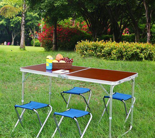 Усиленный стол для пикника+ 4 стула складывается в кейс.