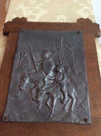 Obraz z cyny Don Kochot Sancho Pansa w drewnianej rzeźbione ramie