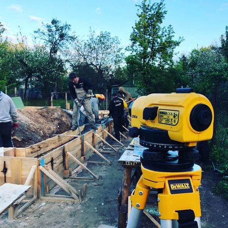 Строительные, кровельные, бетонные работы. Строительство фундамента.