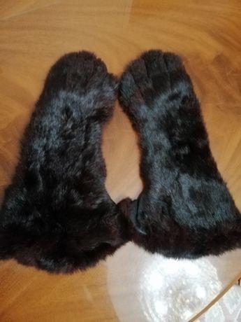Перчатки женские меховые кожаные
