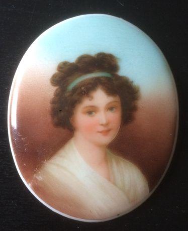 ANTYK Francja Stary obraz olej miniatura na porcelanie ok 1910