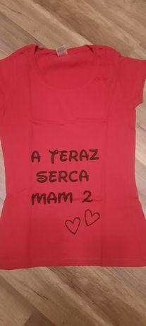 "Podkoszulek ciążowy / t-shirt ""teraz serca mam 2"""