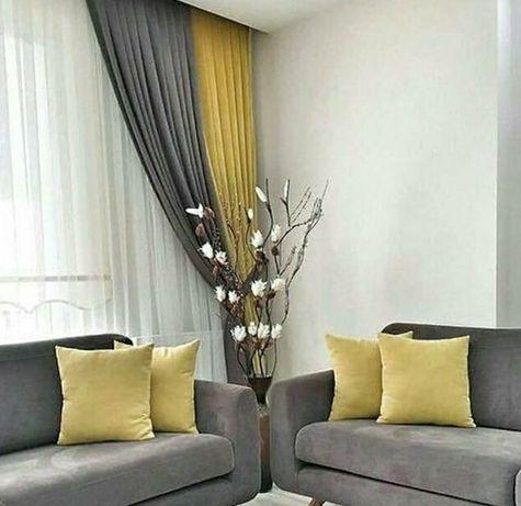 Шторы серые желтые разные цвета штор подушки покрывала