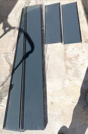 Parapety zewnętrzne stalowe 200mm, antracyt, 7 sztuk, nowe.