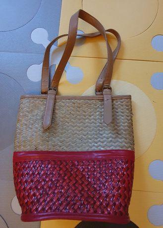 Blanco - torebka - koszyk - na ramię - pleciona - czerwono-słomkowa