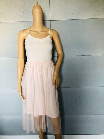 H&M sukienka z tiulem pudrowy roz 11-12lat