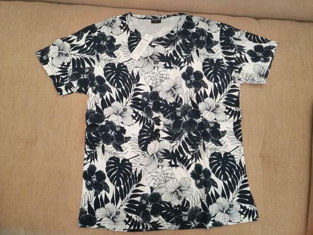 Nowa bluzka męska L kwiaty Granat