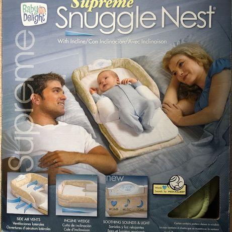 Snuggle Nest De Luxe łóżeczko przenośne lampka przewijak z lampką