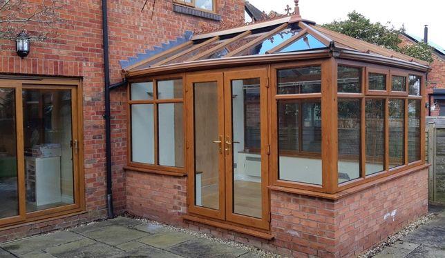 Z montażem /3,00 x 4,00m/ Ogród zimowy szklany dach kolor dąb antyczny