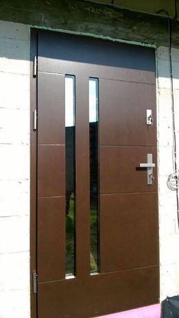 Drzwi wejściowe dębowe płytowe Diana; komplet
