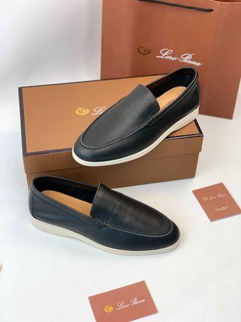 Мужские кожаные мокасины лоферы туфли кеды Loro Piana ob306