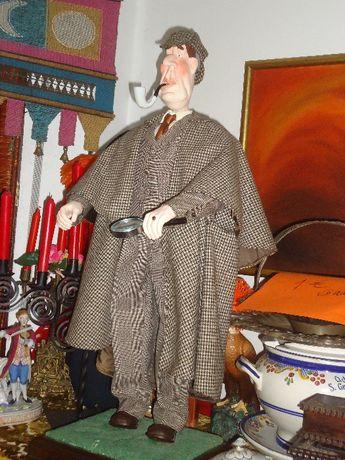 Cachimbo estátua Sherlock Holmes- Cabeça, mãos e cachimbo em cerâmica