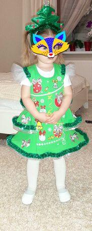 Новогоднее платье елочки, на 3 года