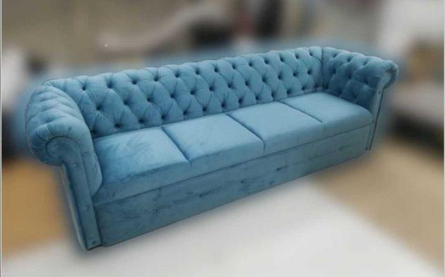 Sofa chesterfield z f spania głęboko pikowana mega wygodna