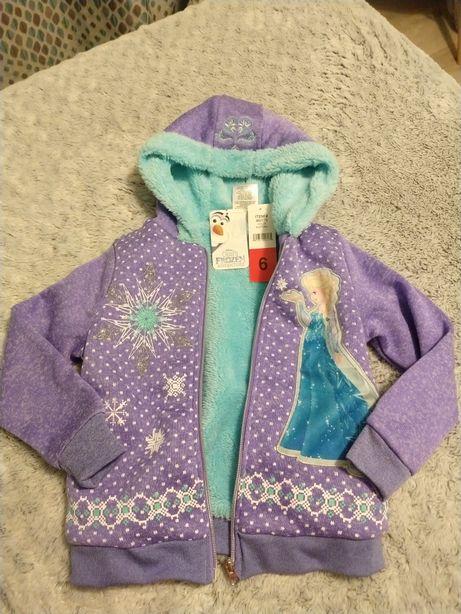 Ciepła bluza jak kurtka na futerku Frozen Kraina Lodu NOWA na 6 lat