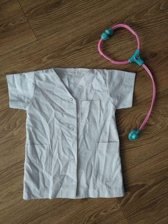 Strój, przebranie, kostium lekarza+stetoskop