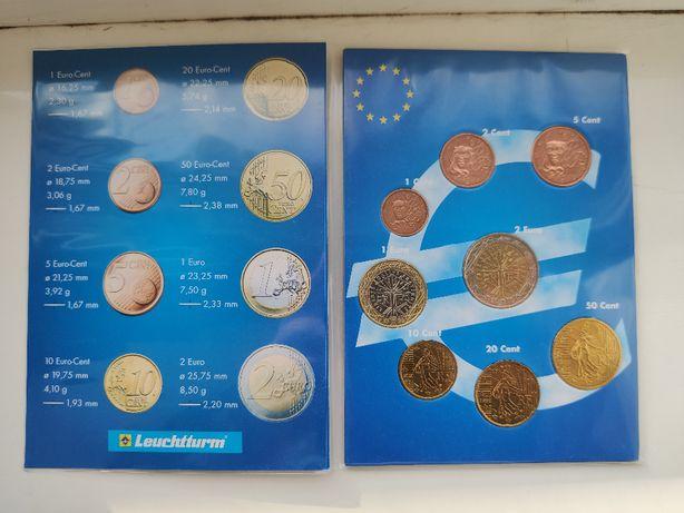 Francja klaser z monetami od 1 centa do 2 euro - 8 szt.