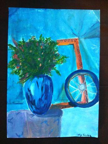 Obraz martwa natura błękitny obraz kwiaty bukiet