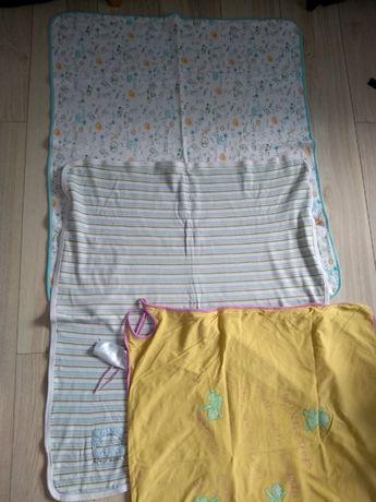 Pled kocyk bawełniany do wózka łóżeczka 3 sztuki