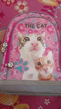 Plecak różowy w koty dla dziewczynki